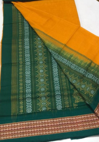 Handwoven green and yellow Bomkai cotton saree