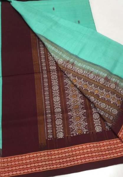 Handwoven ocean green and brown Bomkai cotton saree