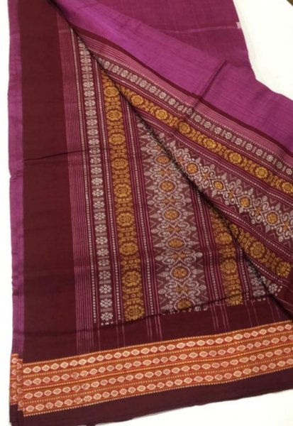 Handwoven light purple and maroon Bomkai cotton saree