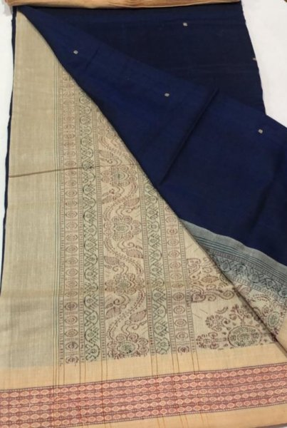 Handwoven cream and deep blue Bomkai cotton saree