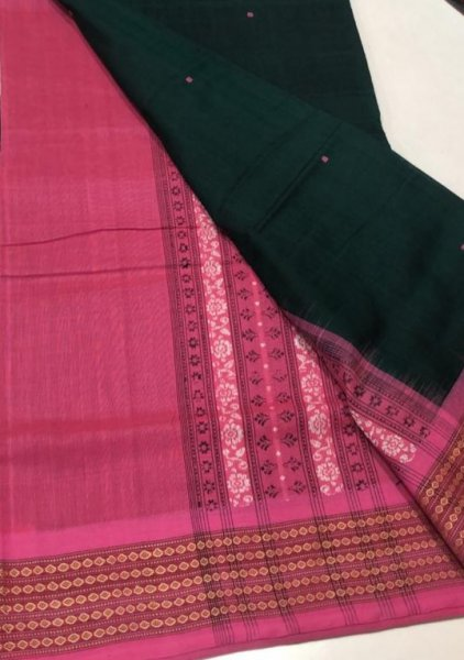 Handwoven pink and black Bomkai cotton saree