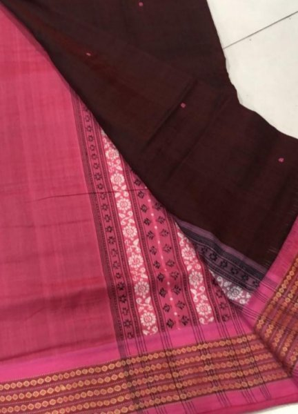 Handwoven pink and brown Bomkai cotton saree