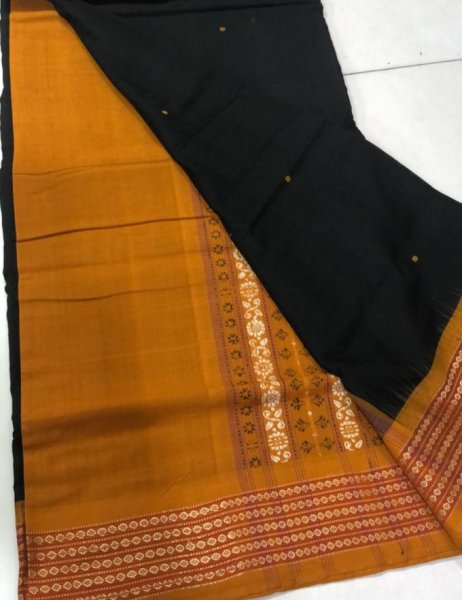Handwoven mustard yellow and black Bomkai cotton saree