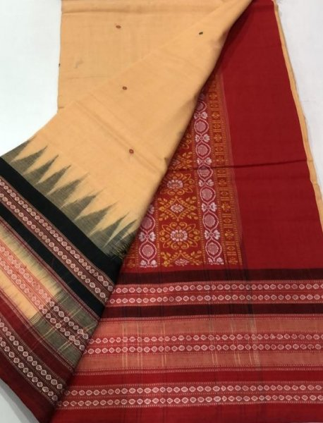 Handwoven cream and maroon Bomkai cotton saree