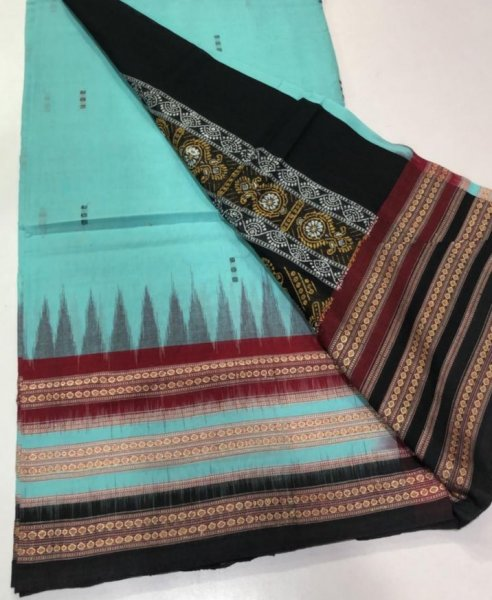 Handwoven ocean green and black Bomkai cotton saree