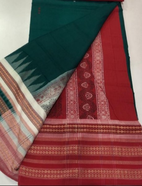 Handwoven deep green and maroon Bomkai cotton saree