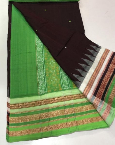 Handwoven green and brown Bomkai cotton saree