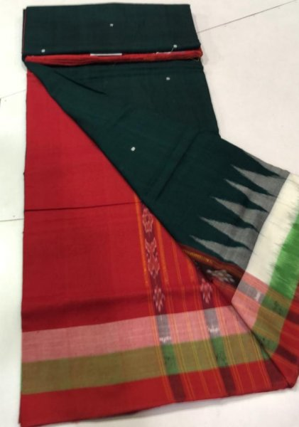 Handwoven green and maroon Bomkai cotton saree