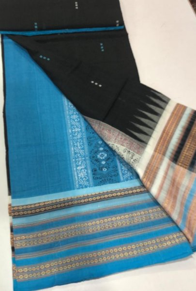 Handwoven sky blue and black Bomkai cotton saree