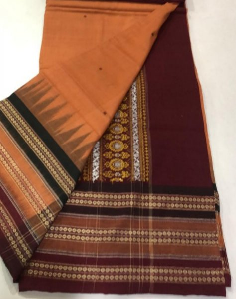 Handwoven orange and maroon Bomkai cotton saree