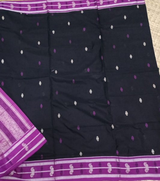 Black with pink border  Bomkai cotton saree