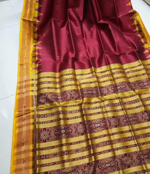 Maroon and Yellow handwoven Khandua silk saree