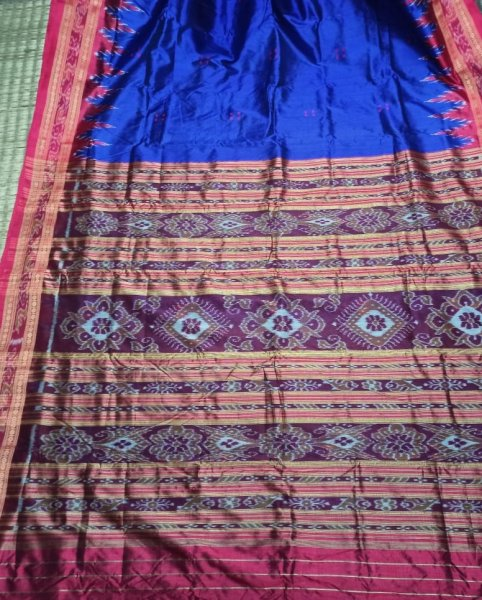 Blue handwoven Khandua silk saree