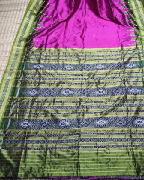 Green and Pink handwoven Khandua silk saree
