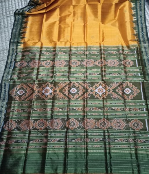 Mustard yellow and  green handwoven Khandua silk saree