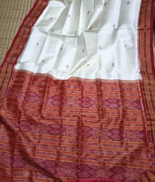 Maroon and White handwoven Khandua silk saree