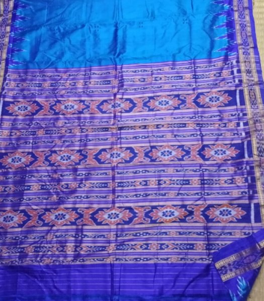 Blue  and sky blue handwoven  Khandua silk saree