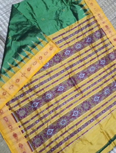 Green and yellow khandua silk saree