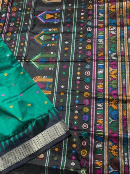 Green handwoven Dolabedi silk saree