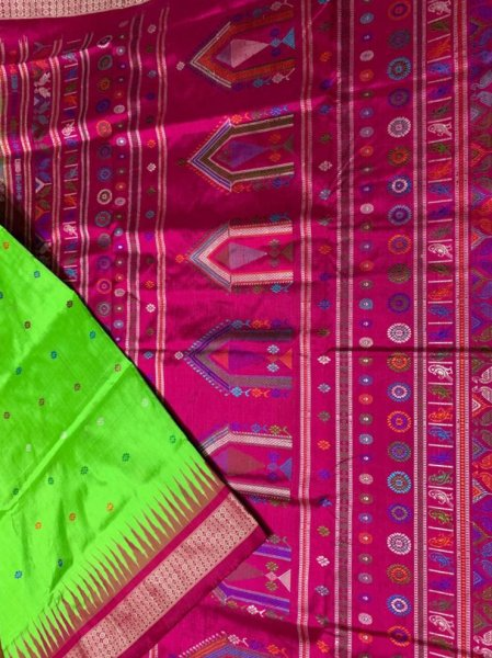 Olive green and pink handwoven Dolabedi silk saree