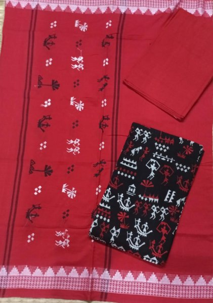 Red and Black Odisha handwoven tribal salwar suit piece