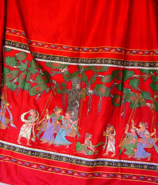 Indian Traditional Pattachitra Hand Painted Silk Saree