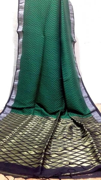 Green & Golden With Grey Border Jamdani Linen Saree