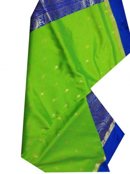green and blue linen jamdani saree