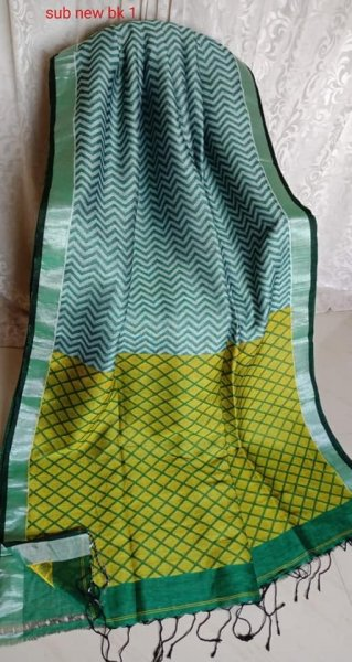 Light Green & Yellow With Light Green Border Jamdani Linen Saree