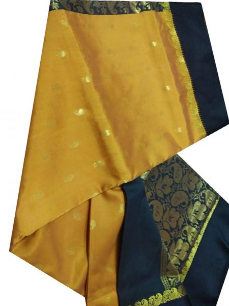black and mustard yellow linen jamdani saree