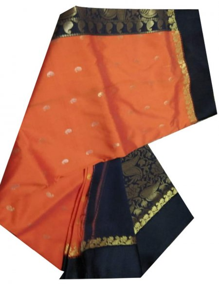 orange and black linen jamdani saree