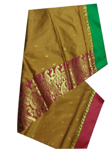 flaxen yellow,pink and green linen jamdani saree