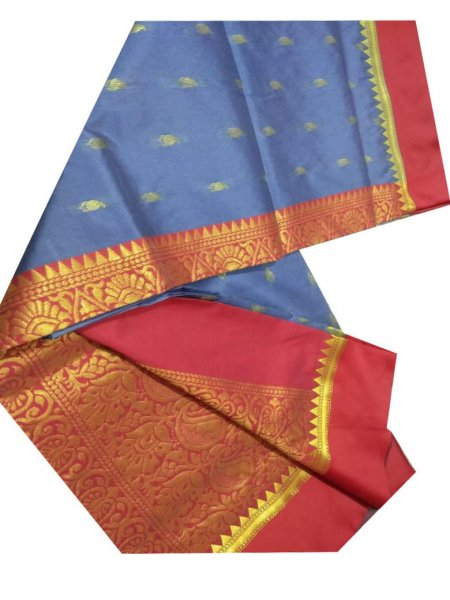 blue and maroon linen jamdani saree