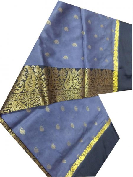 indigo blue and black linen jamdani saree