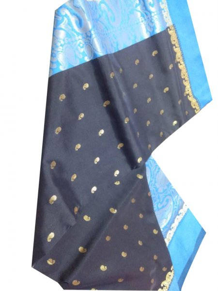 black and sky blue linen  jamdani  saree