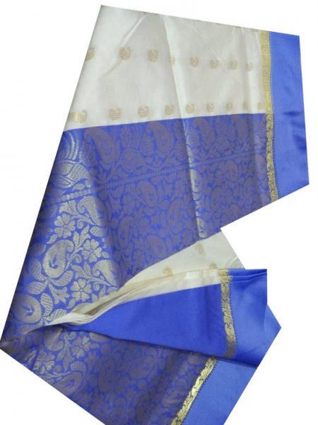 white and blue linen jamdani saree