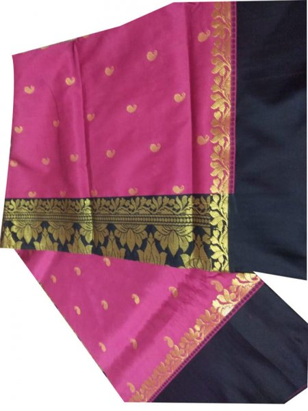 Black and rose pink linen jamdani saree