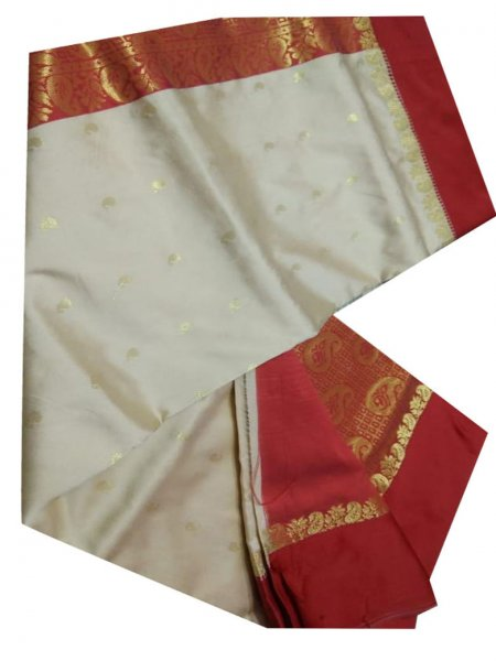 white and berry red color linen jamdani saree