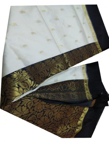 white and black linen jamdani saree