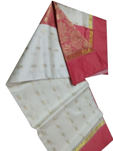 white and deep pink linen jamdani saree