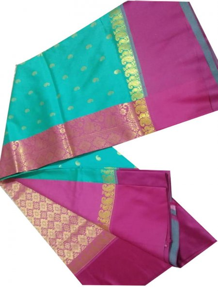 Deep pink and greenish-blue linen jamdani saree