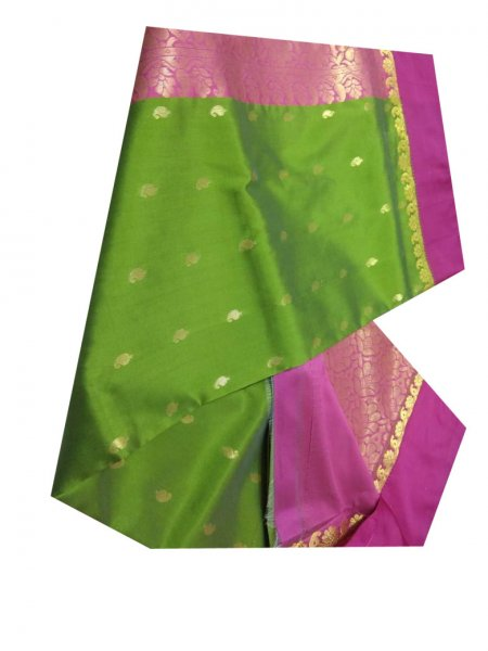 green and pink linen jamdani saree