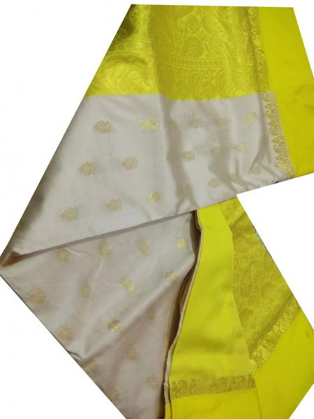 Silver and lemon yellow linen jamdani saree