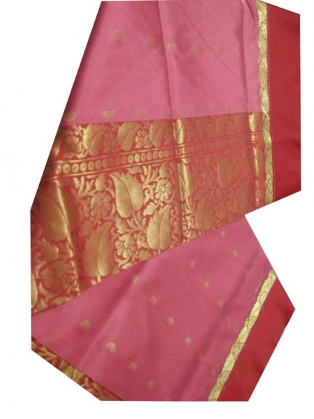 pink  and red linen jamdani saree