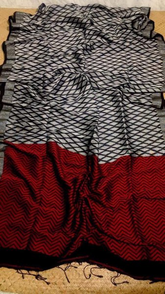 Dim Grey & Red With Light Black Border Linen Jamdani Linen Saree