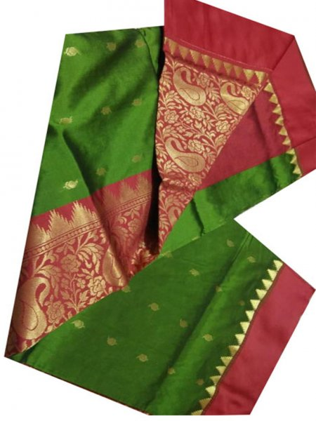 Green and maroon linen jamdani saree