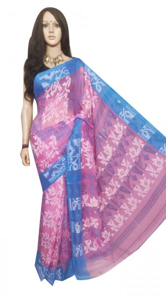 Pink and Sky blue pure cotton full body weaving work jamdani saree