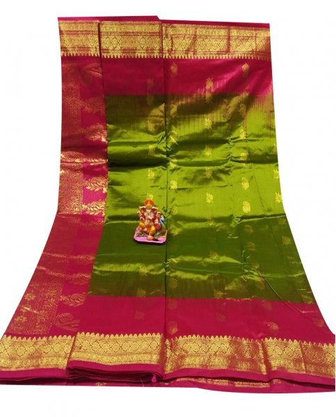 Khaki green and rose pink all body buti designer Kanjivaram silk saree
