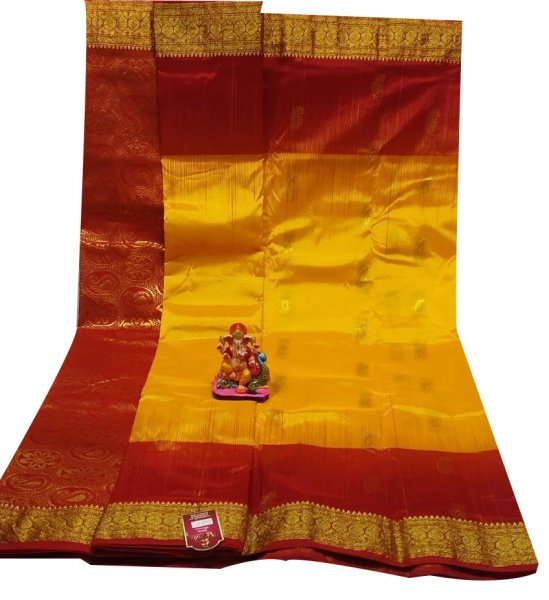 Yellow and maroon all body buti designer Kanjivaram silk saree