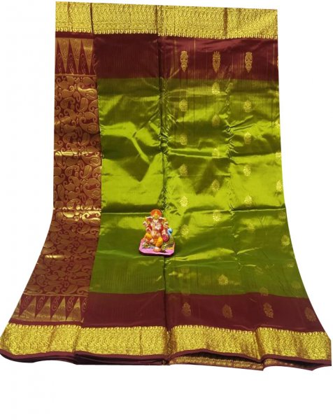 Green and maroon all body buti designer Kanjivaram silk saree